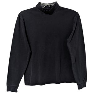 L.L. Bean Turtleneck Long Sleeve Top Grey Cotton S